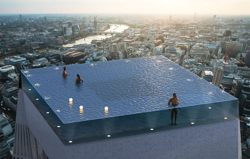 A swim on the London skyline