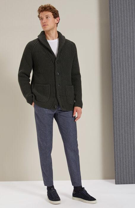 Maxi Cardigan with green Lambswool shawl collar , Zanone | Slowear