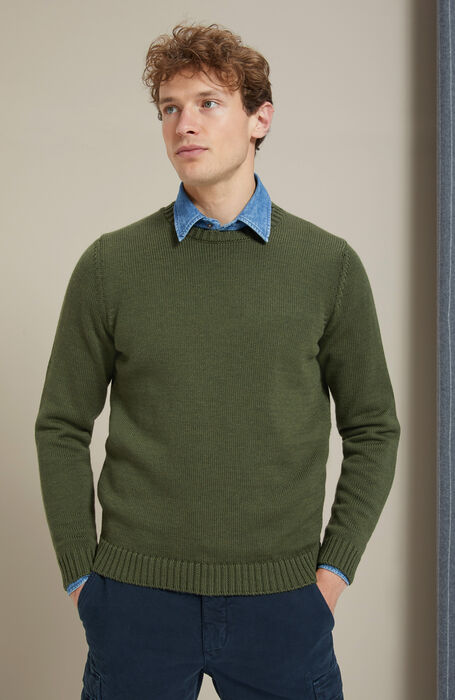 Slim-fit merino wool military green crewneck sweater , Zanone | Slowear