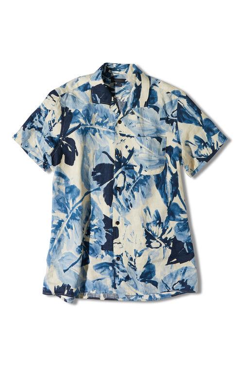 Short-sleeve regular-fit linen overshirt with floral print , Indigochino | Slowear