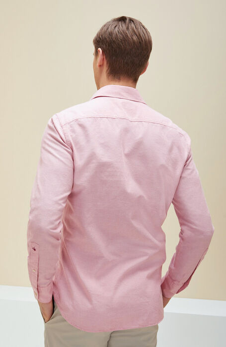 Pink chambray slim fit cotton shirt with French collar , Glanshirt | Slowear