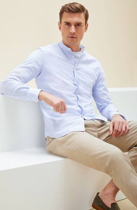 Seersucker cotton slim fit shirt with mandarin collar , Glanshirt | Slowear