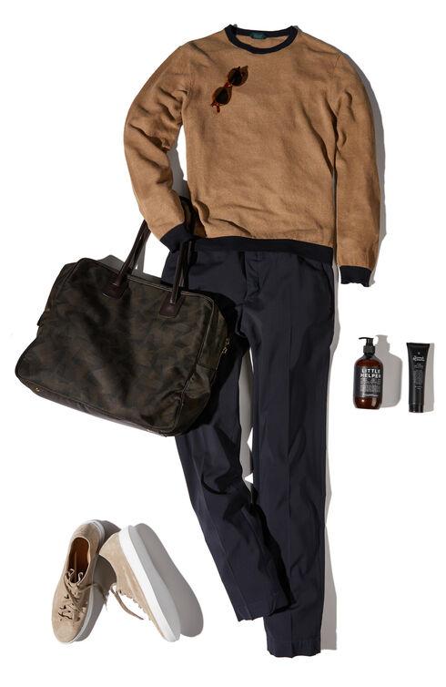 Slim-fit linen colour contrast cotton crewneck sweater , Zanone | Slowear