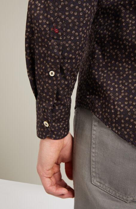 Slim-fit French-neck cotton shirt with Japanese print , Glanshirt | Slowear
