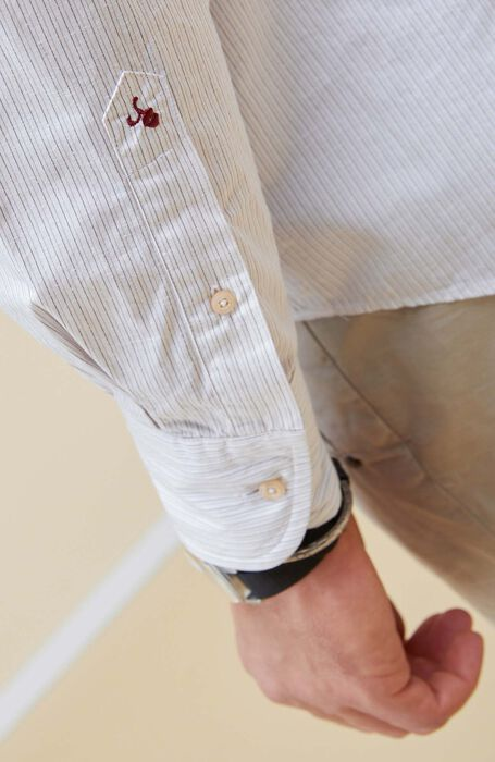 Regular Fit Cotton and Silk Shirt with Classic Collar , Glanshirt   Slowear