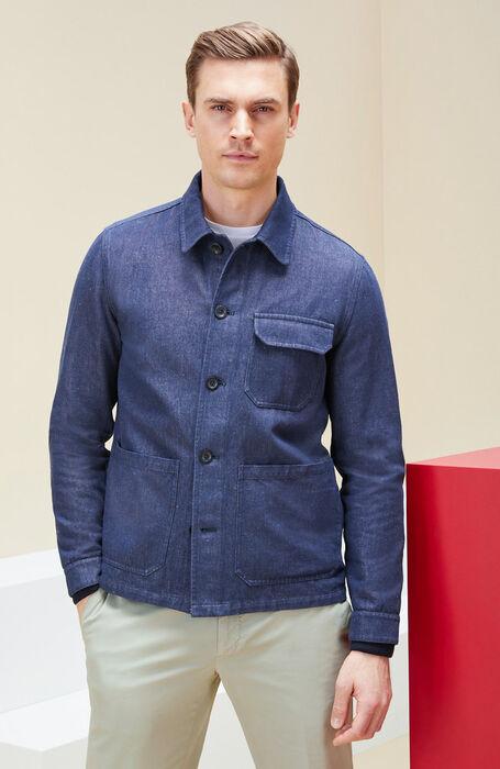 Unlined cotton and linen denim effect blouse , Montedoro | Slowear