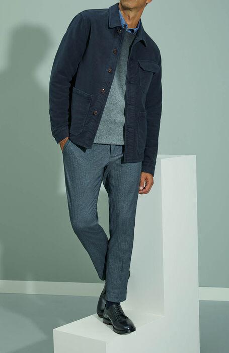 Slim fit Japanese denim cotton shirt with classic collar , Indigochino | Slowear