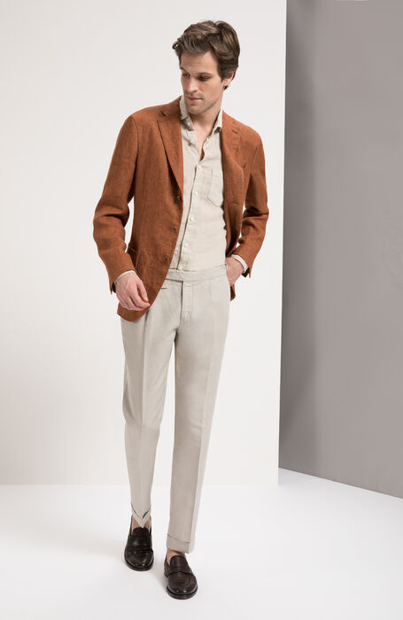 Beige Slim Fit Garment-Dyed Natural Linen Shirt with Classic Collar , Glanshirt | Slowear