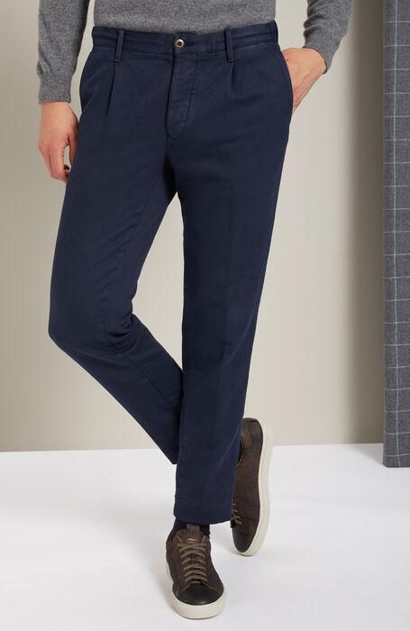 Pantalone tapered fit in cotone stretch blu , Incotex - Slacks | Slowear
