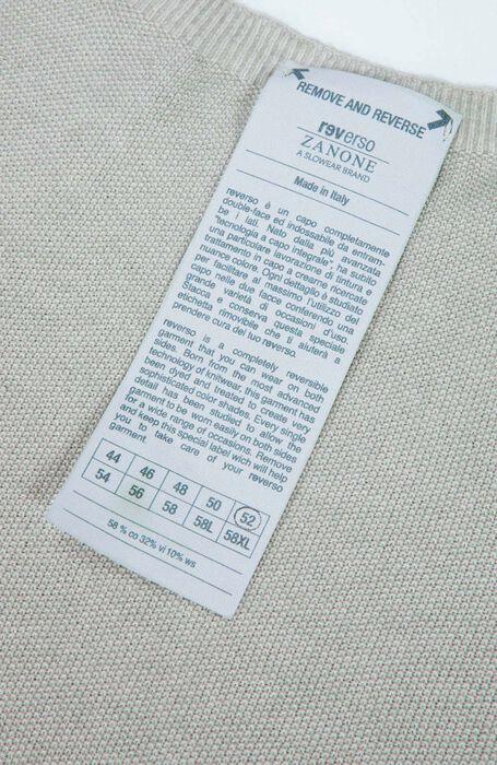 Reversible Crew-neck in cotton, viscose and cashmere, sand colour , Zanone | Slowear