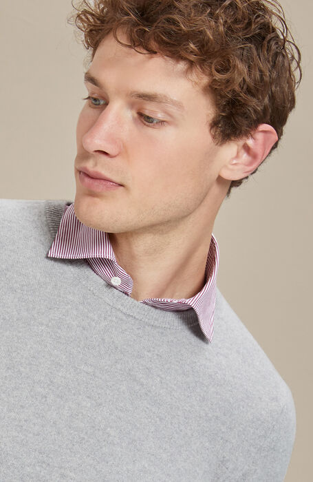 Light melange grey wool and cashmere crew-neck , Zanone | Slowear