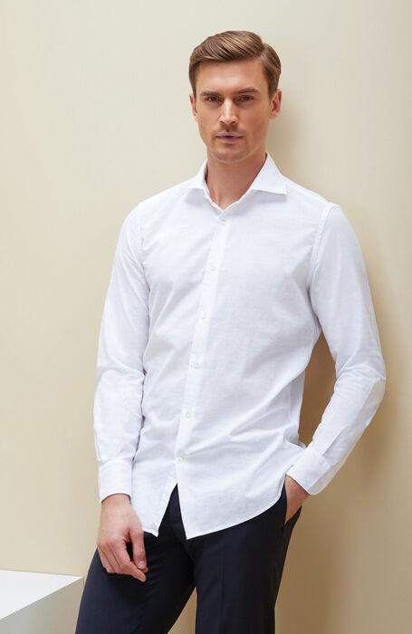 White slim fit cotton shirt with French collar , Glanshirt | Slowear