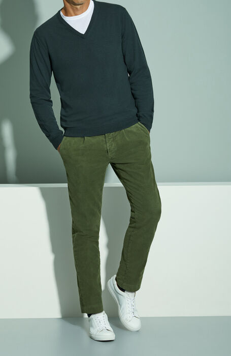 Slim fit Green Moleskin trousers , Incotex - Slacks | Slowear