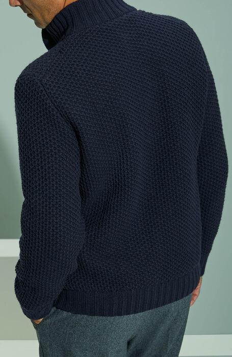Lambswool lined Chioto sweater with honeycomb stitching , Zanone | Slowear
