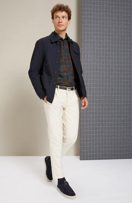 Camicia regular fit collo classico in cotone caldo e fantasia tartan blu , Glanshirt | Slowear