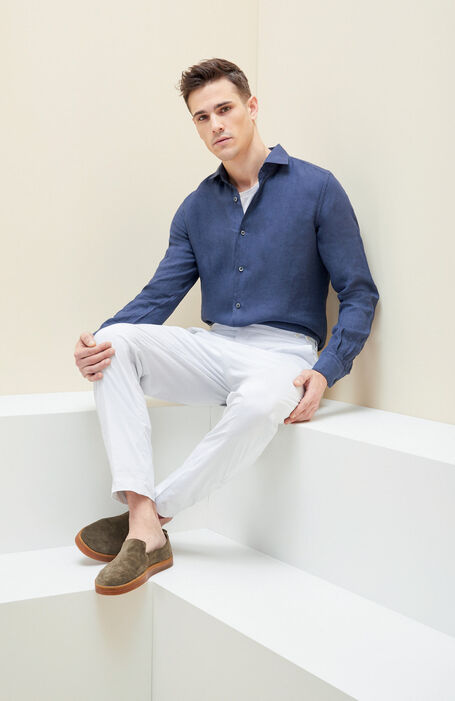 Blue linen slim fit shirt with French collar , Glanshirt | Slowear