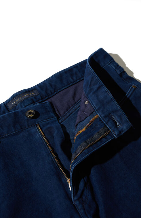 Slim fit Moleskin five-pocket trousers , Indigochino | Slowear