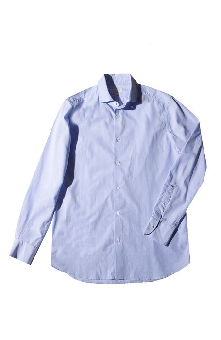 Slim fit light blue micro pattern cotton shirt with French collar , Glanshirt | Slowear