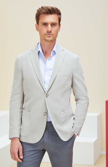 Single-breasted unlined jacket in cotton and beige ramie , Montedoro | Slowear