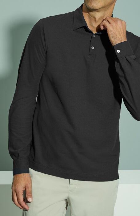 Black long-sleeved Ice Cotton polo shirt , ZANONE Icecotton | Slowear