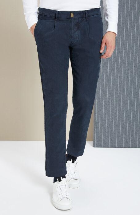 Pantalone slim fit in cotone stretch blu scuro , Incotex - Slacks | Slowear
