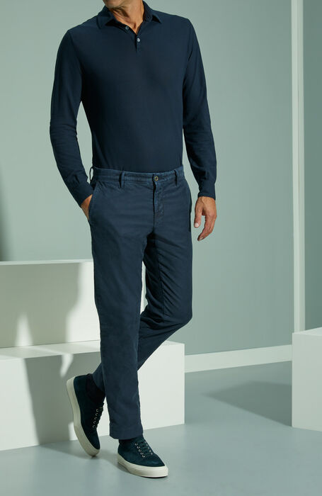 Slim fit blue stretch Tricochino trousers , Incotex - Slacks   Slowear