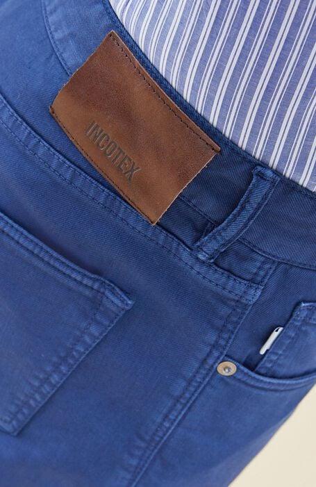 Slim fit five-pocket blue cotton bull pants , Incotex - Cinque Tasche   Slowear