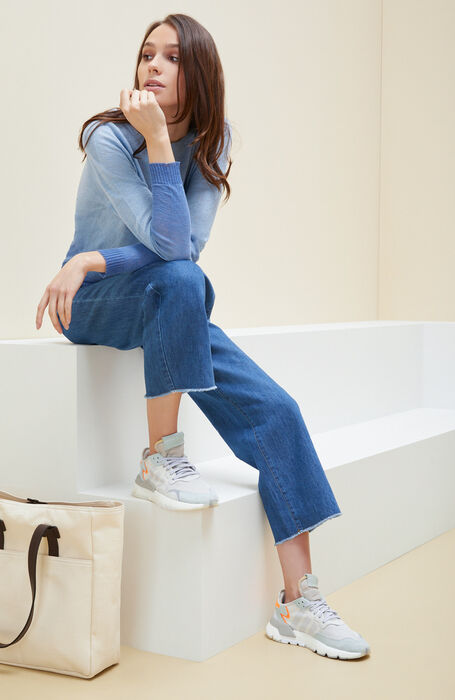 Five-pocket mom fit trousers in cotton and denim linen , Incotex | Slowear