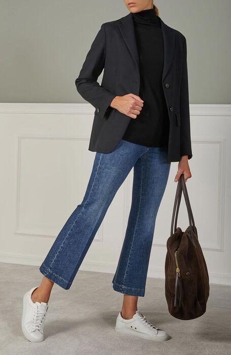 Slim fit trousers with wide leg in stretch denim cotton , Incotex | Slowear