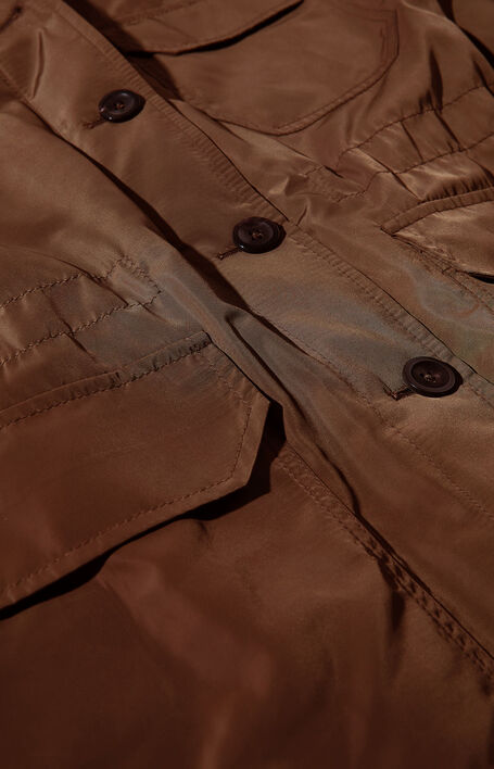 Padded jacket in brown water-repellent technical fabric , Montedoro | Slowear