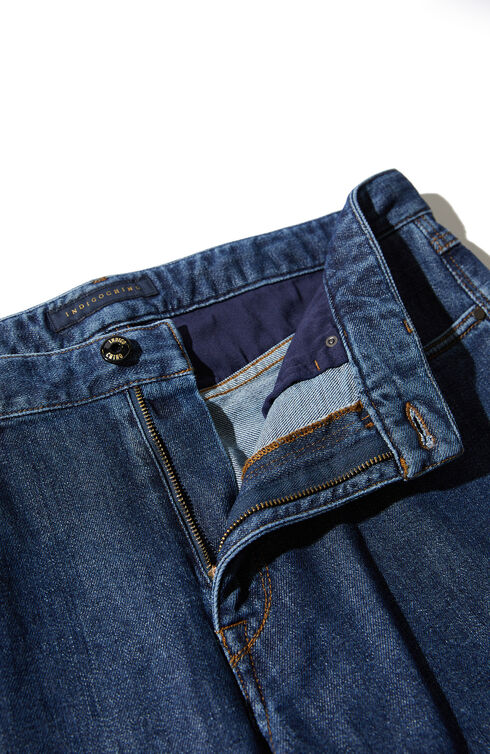 Slim-fit five-pocket denim cotton trousers , Indigochino | Slowear
