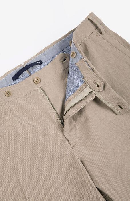 Pantalone Slim Fit in Cotone Crepe Tinto Filo Beige , Incotex - Venezia 1951 | Slowear
