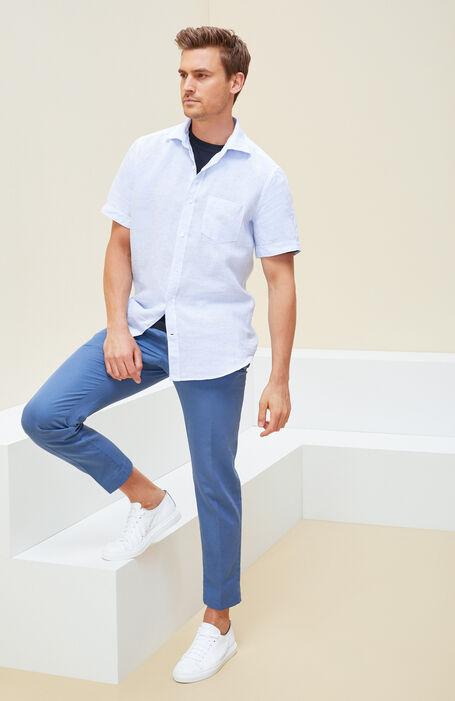 Short-sleeved shirt in light blue striped linen , Glanshirt | Slowear