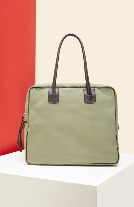 Reisetasche aus Baumwolle mit Details aus hellgrünem Leder , Officina Slowear | Slowear