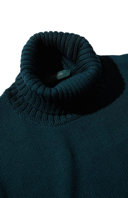 Slim fit blue merino wool turtleneck sweater , Zanone | Slowear