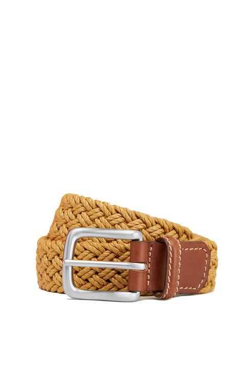 Belt in cotton with beige calfskin leather details , Officina Slowear   Slowear