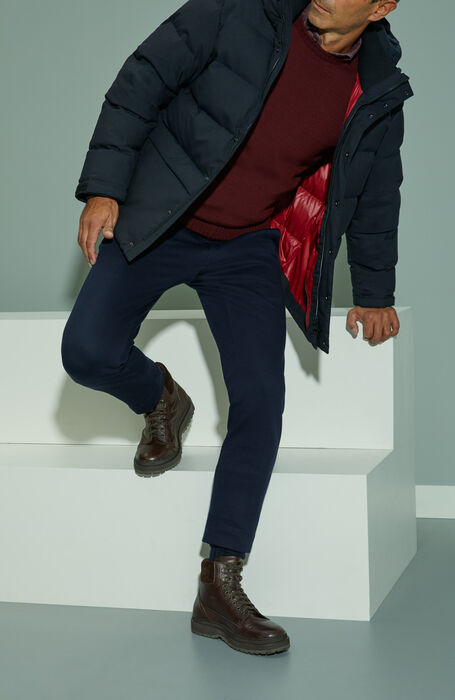 Slim fit red denim effect cotton shirt with French collar , Glanshirt   Slowear