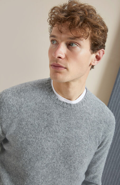 Grey crewneck sweater in lambswool carded with natural fibres , Zanone | Slowear