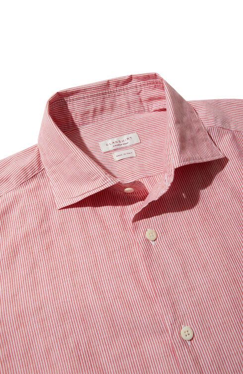 Slim-fit striped cotton shirt with French collar , Glanshirt | Slowear