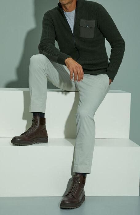 Zipped merino wool wolf sweater with green nylon details , Urban Traveler   Slowear