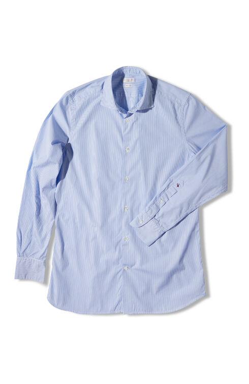 Slim fit striped cotton shirt with French collar , Glanshirt | Slowear