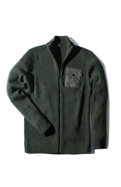 Merino wool wolf sweater with zip and nylon details , Urban Traveler | Slowear