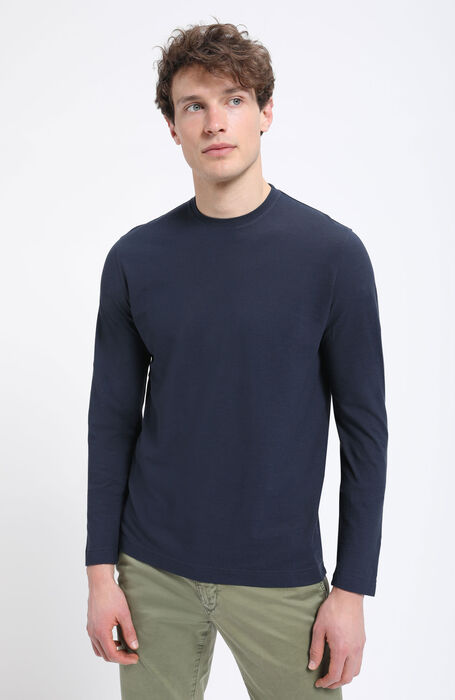 Long sleeve crew neck t-shirt in Zanone IceCotton , Zanone | Slowear
