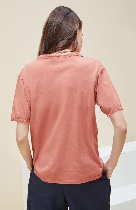 Oversized short-sleeved T-shirt in cinnamon cotton jersey , Zanone   Slowear