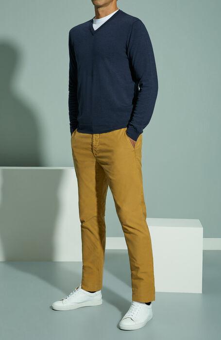 Slim fit walnut stretch Tricochino trousers , Incotex - Slacks | Slowear