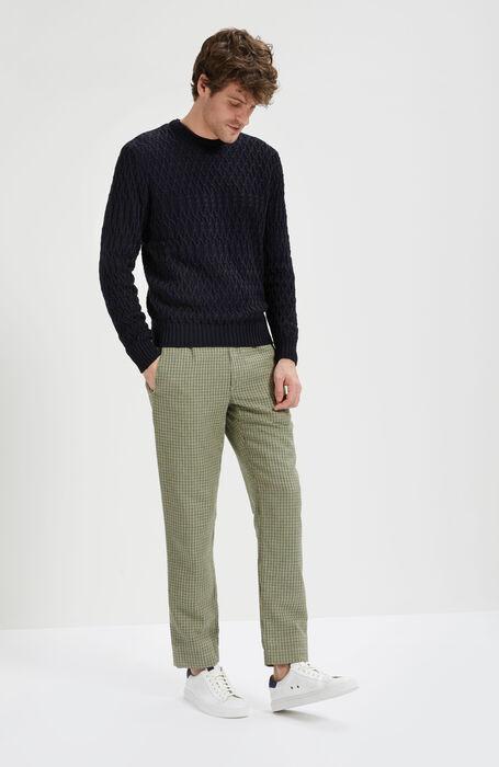 Pantalone Regular Fit in Fantasia Quadro in Lino Cotone , Incotex - Slacks | Slowear