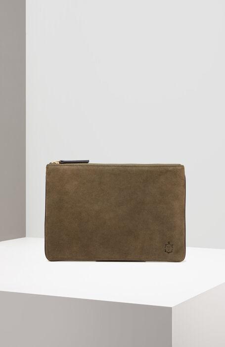 iPad case in suede with dark green leather details , Officina Slowear | Slowear