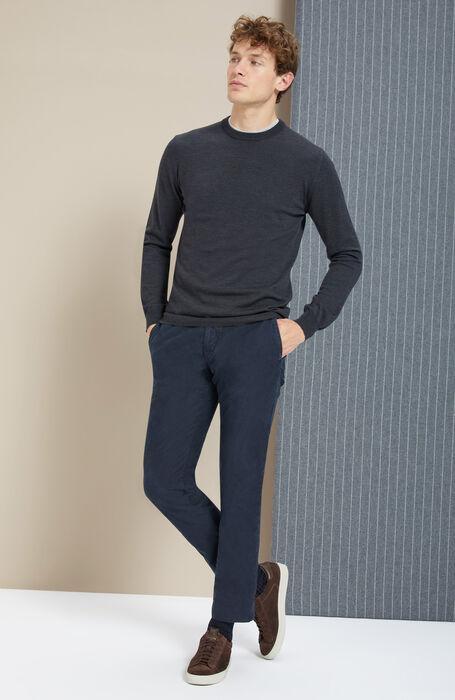 Pantalone slim fit in Tricochino stretch blu , Incotex - Slacks | Slowear