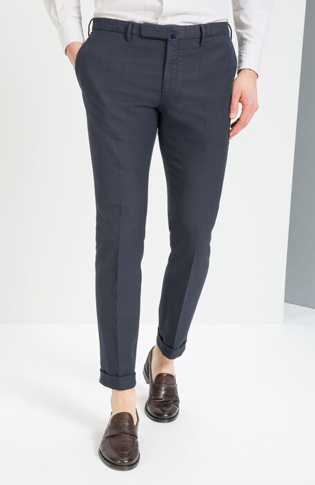 Blue Tight Fit Stretch Basketweave Trousers , Incotex - Venezia 1951   Slowear