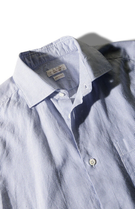 Slim fit shirt with French collar in striped Oxford cloth  , Glanshirt | Slowear